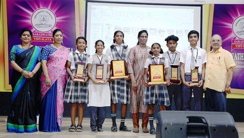 Saraswathi Vidyalaya organised a felicitation ceremony for the young sporting stars of the school